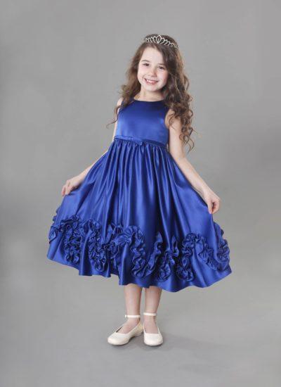 Vestito cerimonia bambina in raso bluette