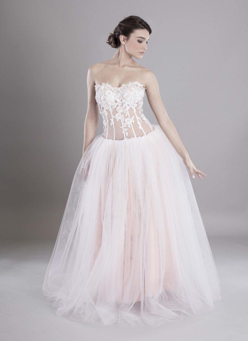 Atelier Catania abito da sposa con corpetto trasparente