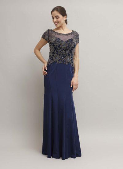 Abito cerimonia blu notte - alta moda Catania Mariella Gennarino