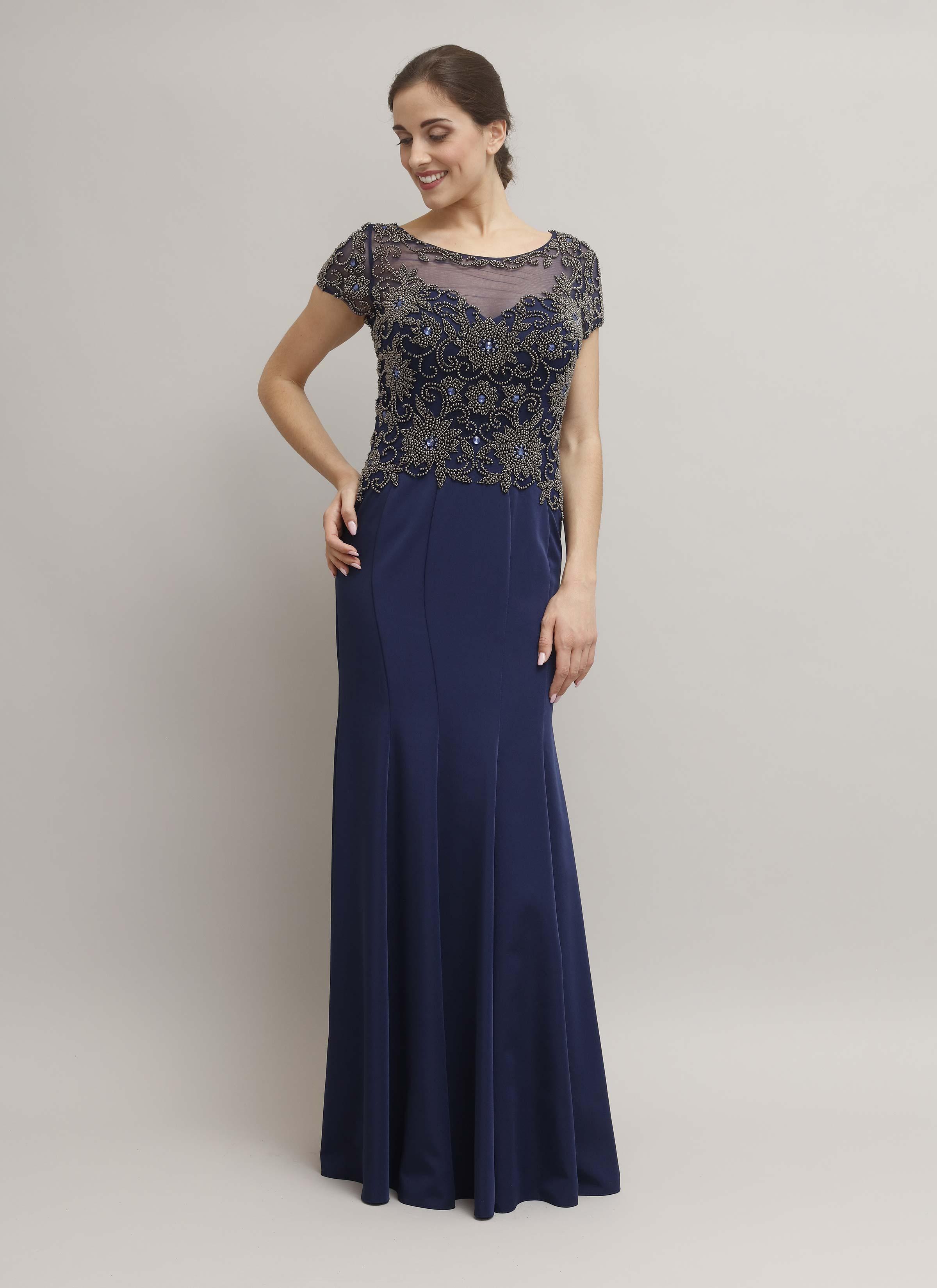0e1558ded6c3 Abito cerimonia blu notte - alta moda Catania Mariella Gennarino