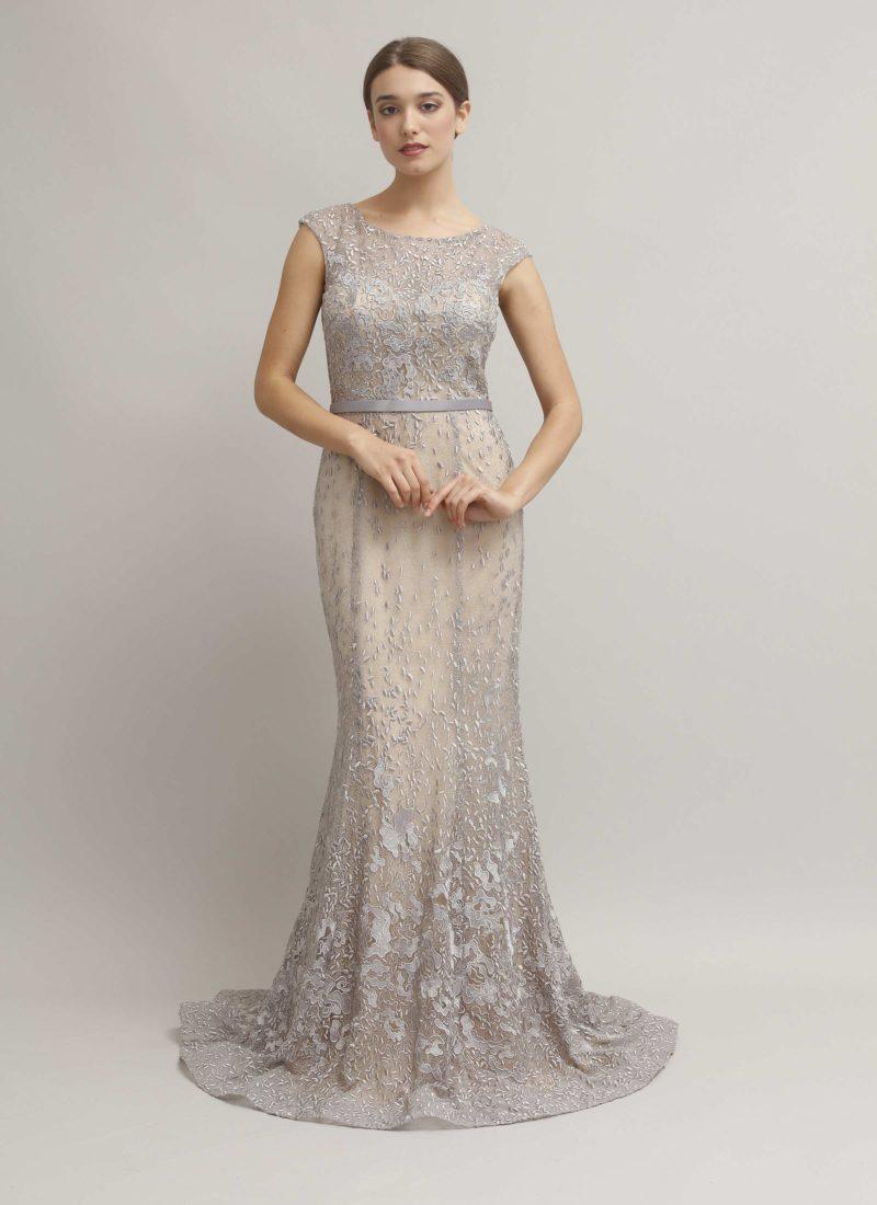 Abito da cerimonia lungo grigio perla - Alta moda Mariella Gennarino