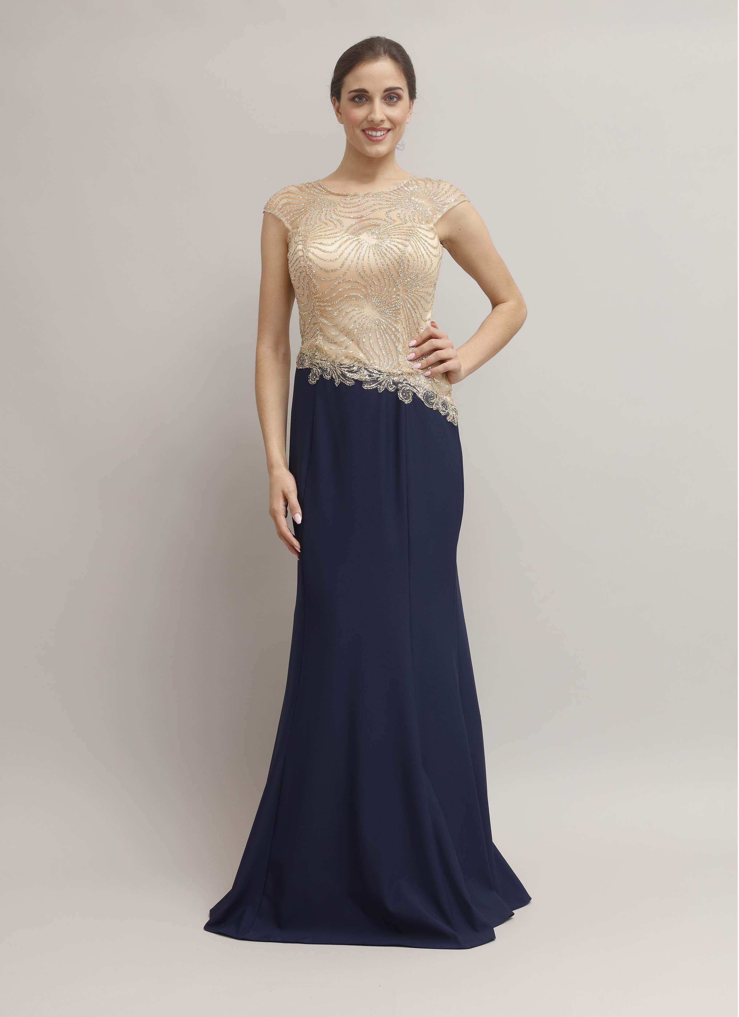 designer fashion 3972c d625e Lucina | Vestito da cerimonia con paillettes color oro Mariella Gennarino