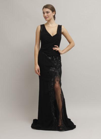 Elegante abito nero con pizzo - Atelier alta moda Mariella Gennarino