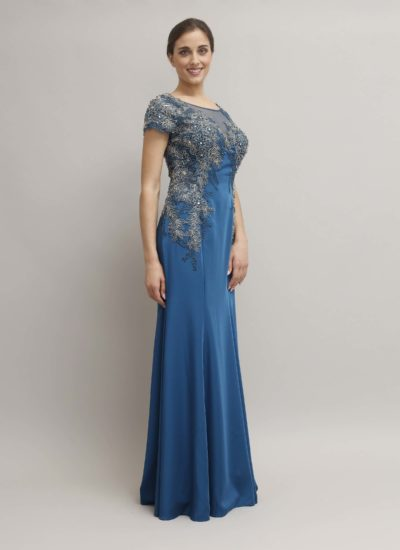 Abito da cerimonia con ricamo floreale - atelier alta moda Mariella Gennarino