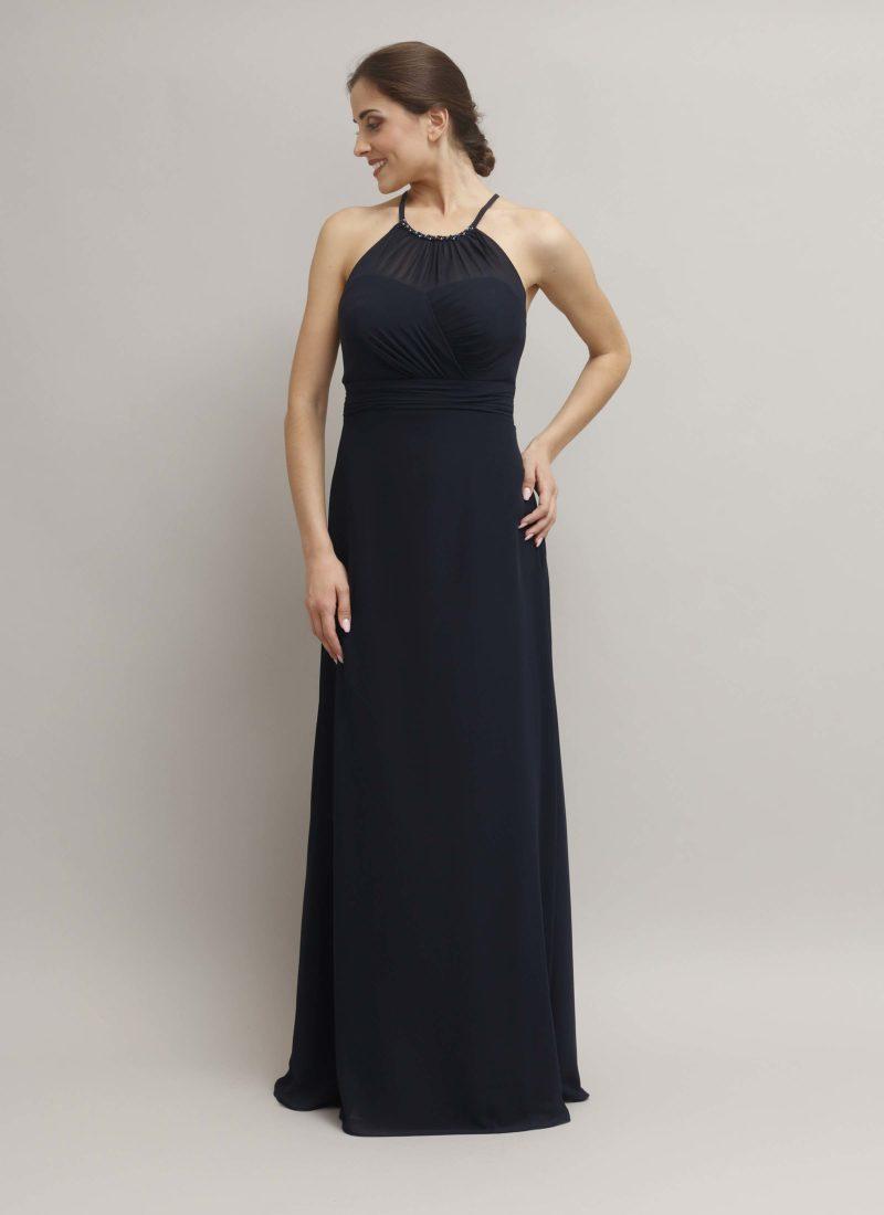 Abito da cerimonia lungo con scollo all'americana - alta moda Mariella Gennarino