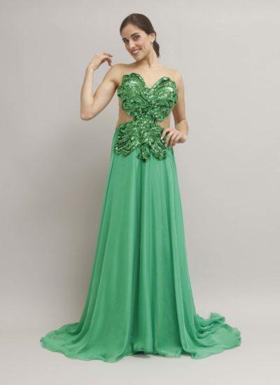 Abito cerimonia verde con schiena trasparente - alta moda Mariella Gennarino