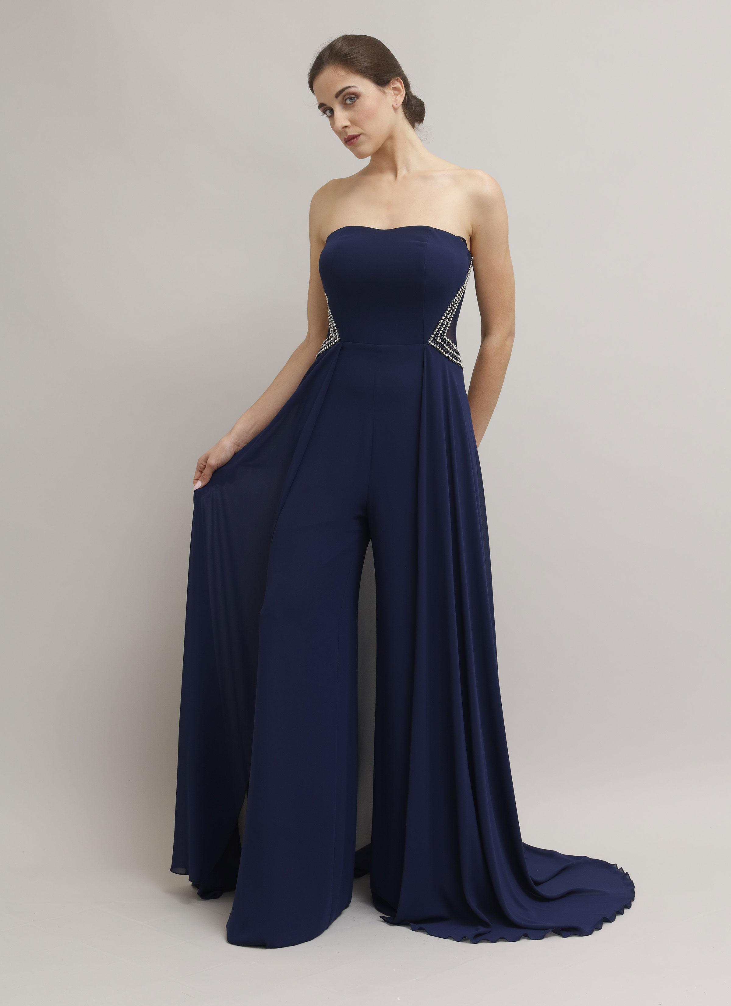 best sneakers 4c759 6a4d8 Liliana | Tuta intera elegante blu - Mariella Gennarino Alta Moda