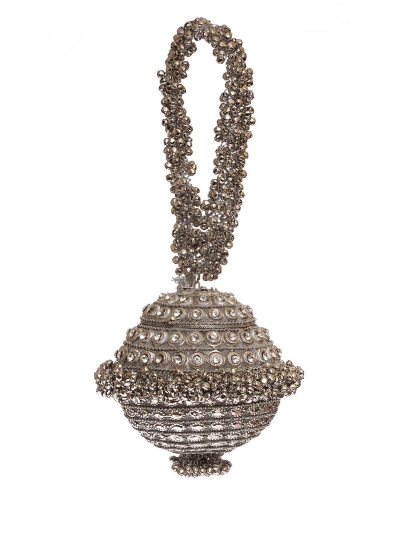 Borsa in metallo con decori swarovski- accessori alta moda Mariella Gennarino