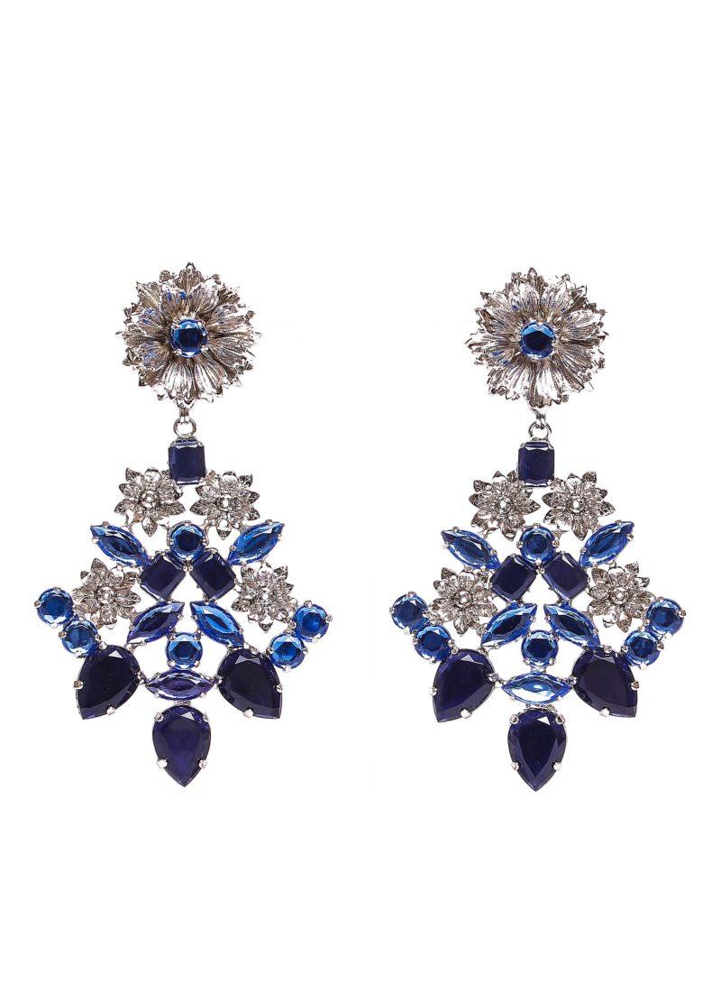 Orecchini in ottone con strass blu | Collezione lusso Mariella Gennarino