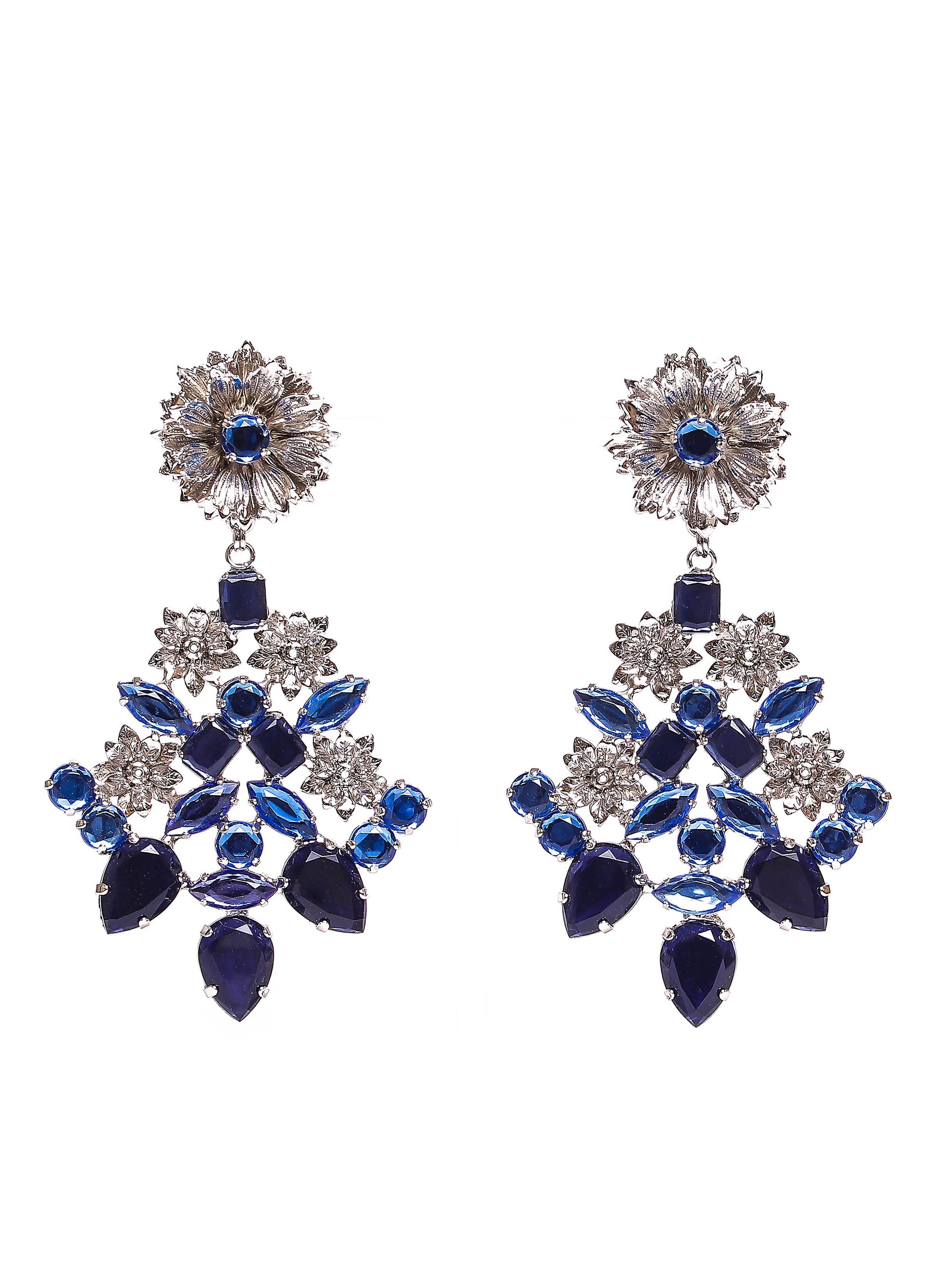 Orecchini in ottone con strass blu   Collezione lusso Mariella Gennarino