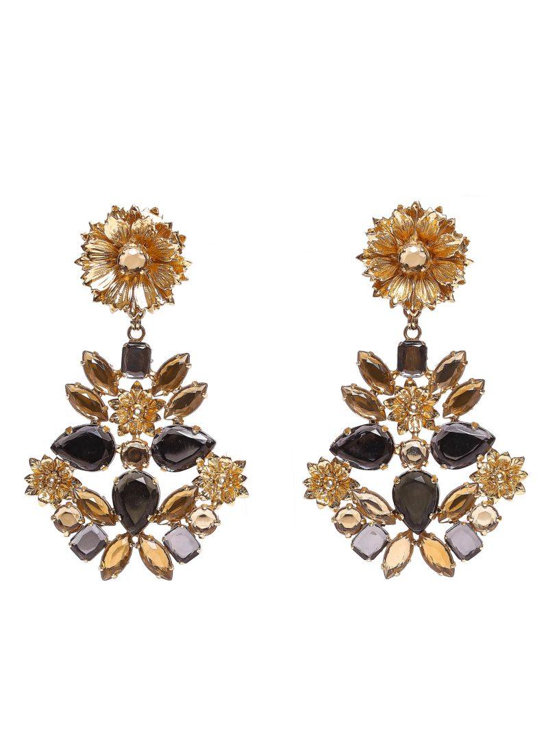 Orecchini con strass oro - collezione lux mariella Gennarino
