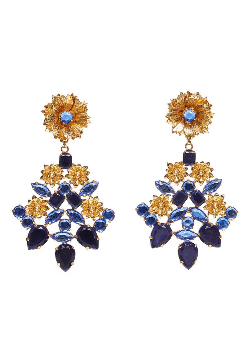 Orecchini con strass blu e oro | Accessori Mariella Gennarino