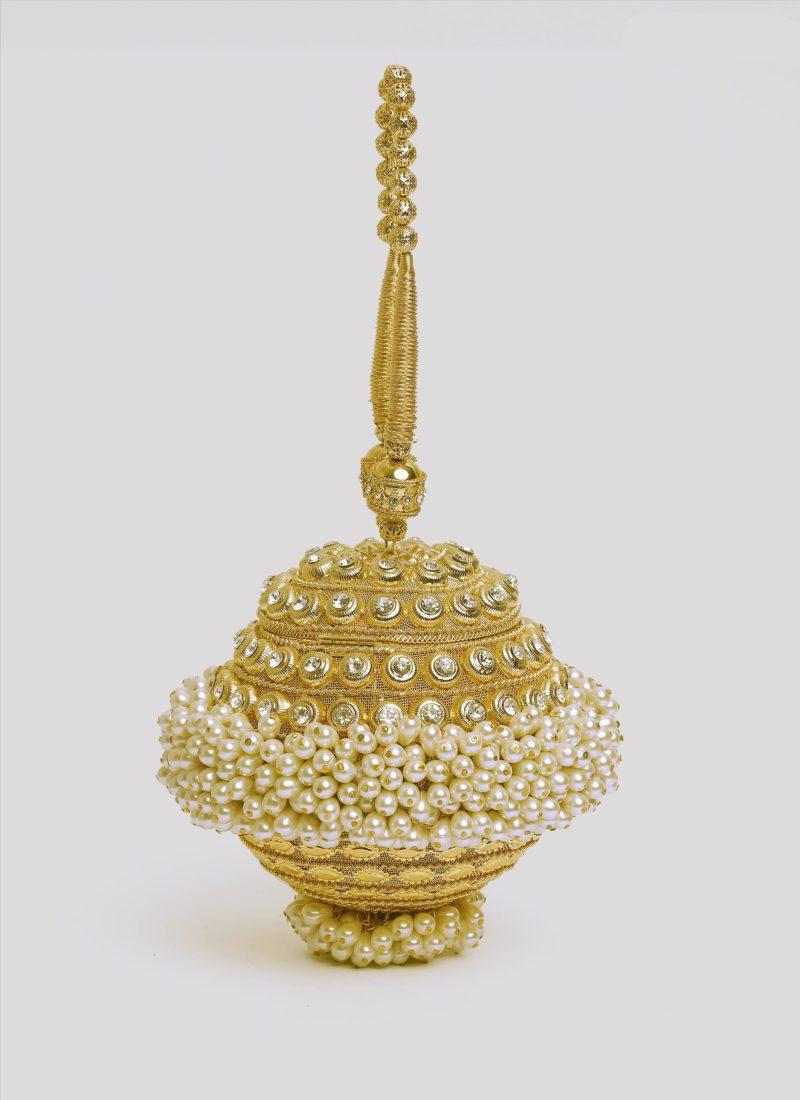 Boule gioiello dorata con perle Mariella Gennarino