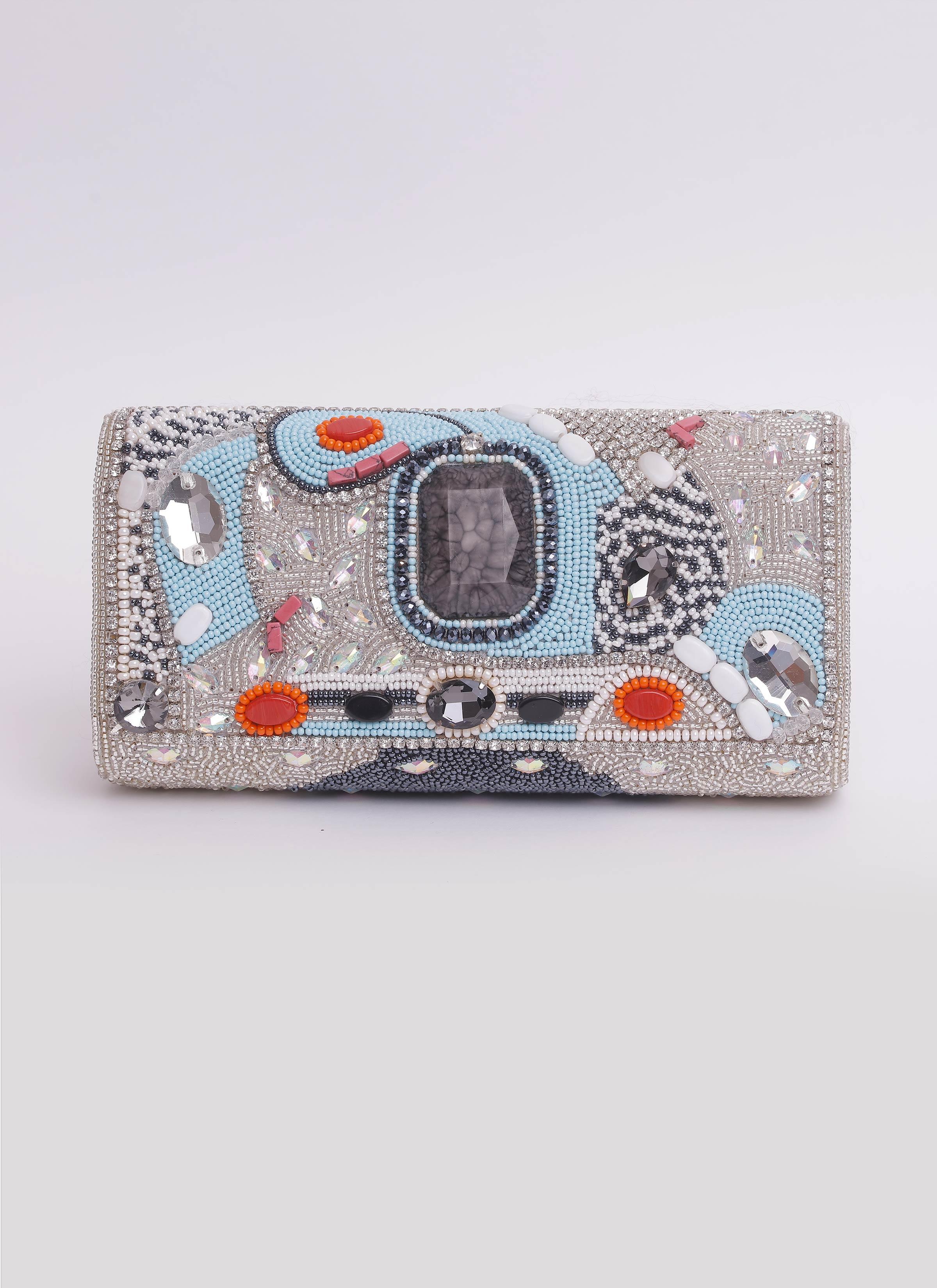 Clutch argento con swarovski pietre e canottiglie Mariella Gennarino