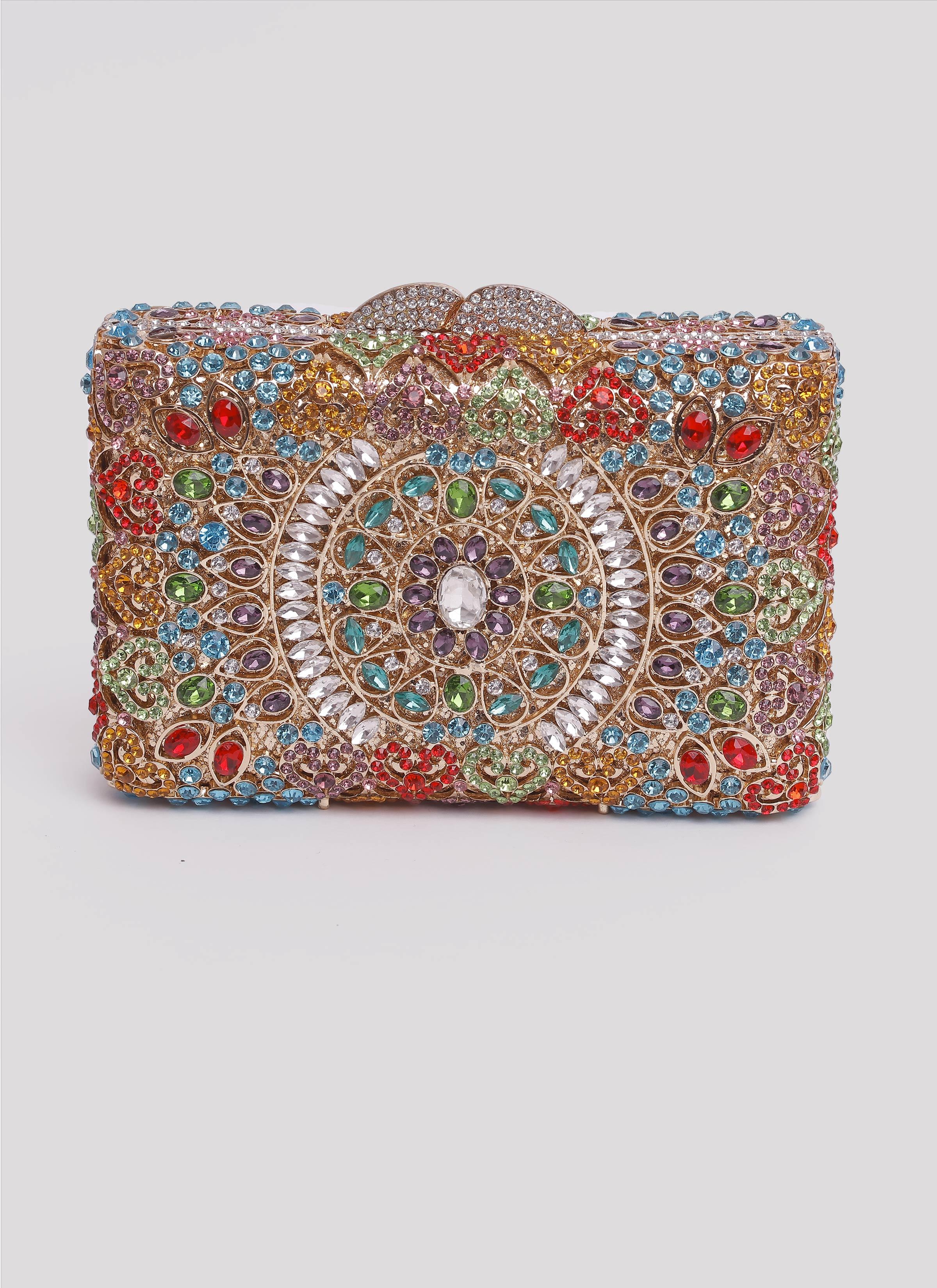 Clutch con pietre colorate e swarovski Mariella Gennarino