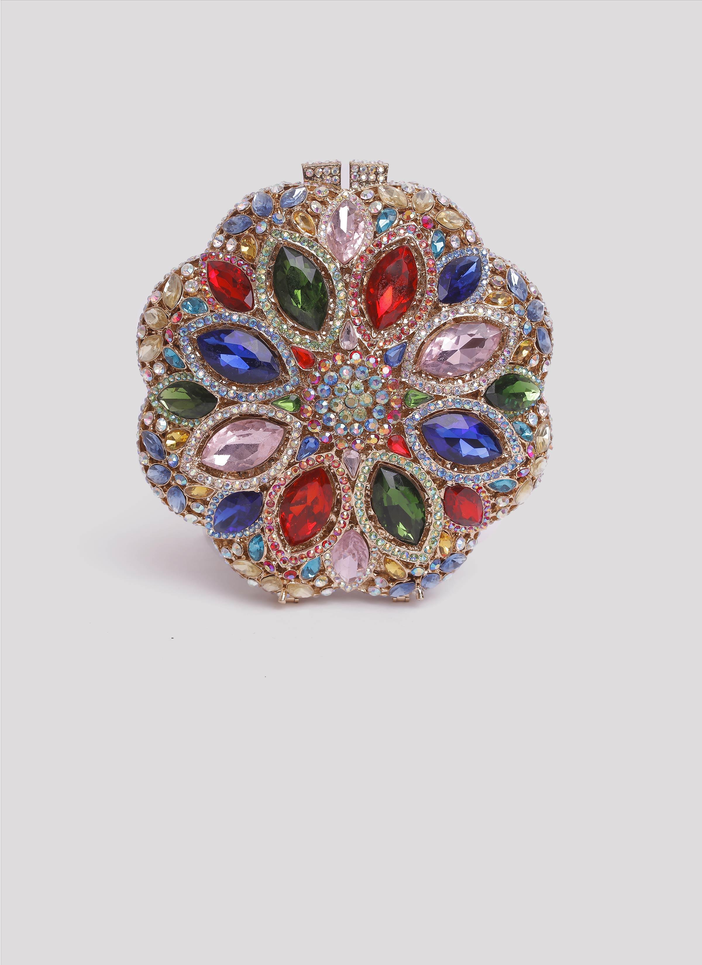 Clutch gioiello rigida con pietre colorate Mariella Gennarino