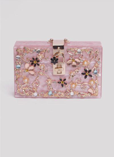 Clutch in resina rosa con pietre Mariella Gennarino