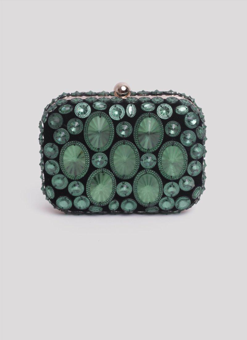 Clutch in velluto con pietre verdi di Mariella Gennarino
