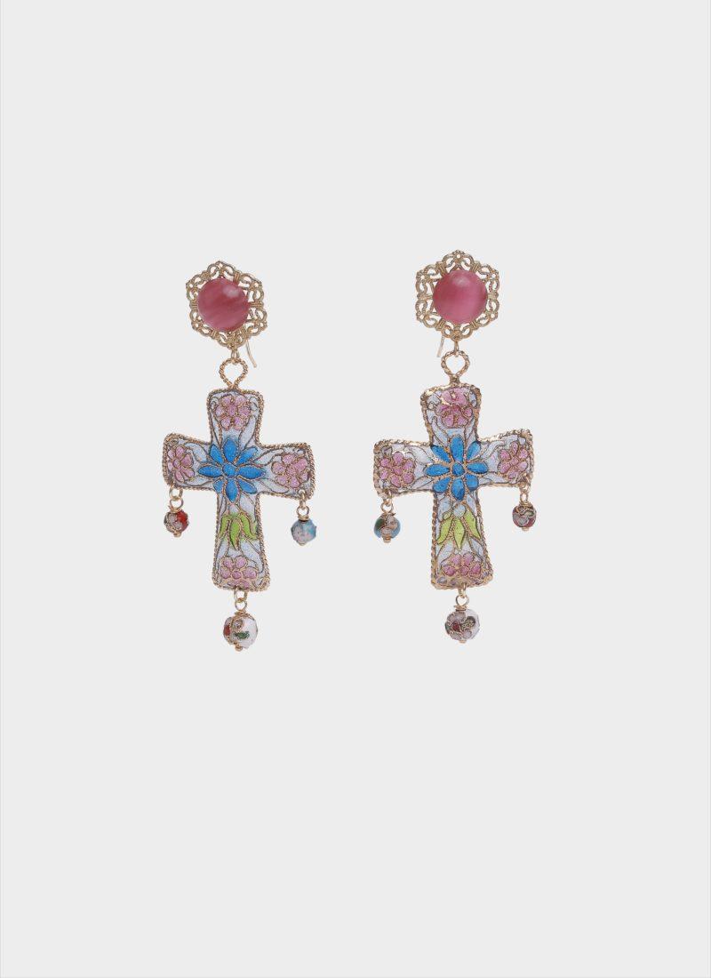 Orecchini a croce con cristalli colorati di Mariella Gennarino