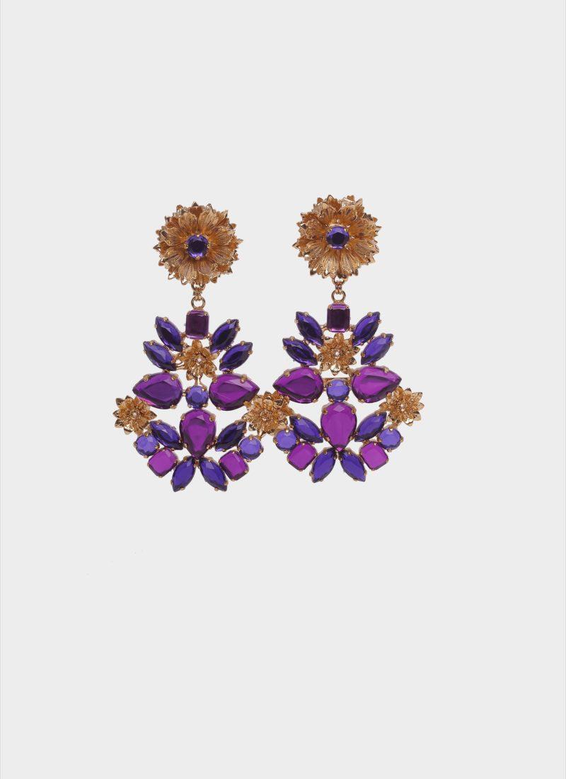 Orecchini chandelier con pietre colorate di Mariella Gennarino