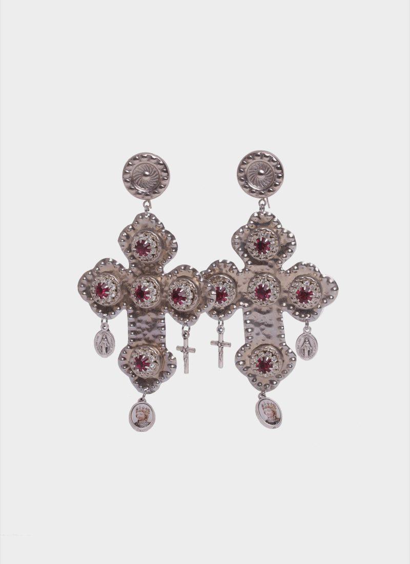 Orecchini croce barocco color argento con pietre Mariella Gennarino