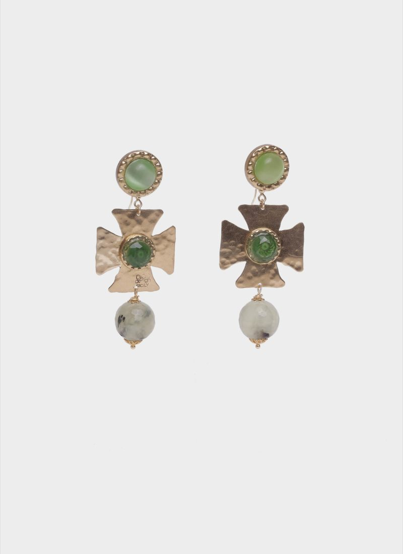 Orecchini croce barocco con pietre verdi Mariella Gennarino