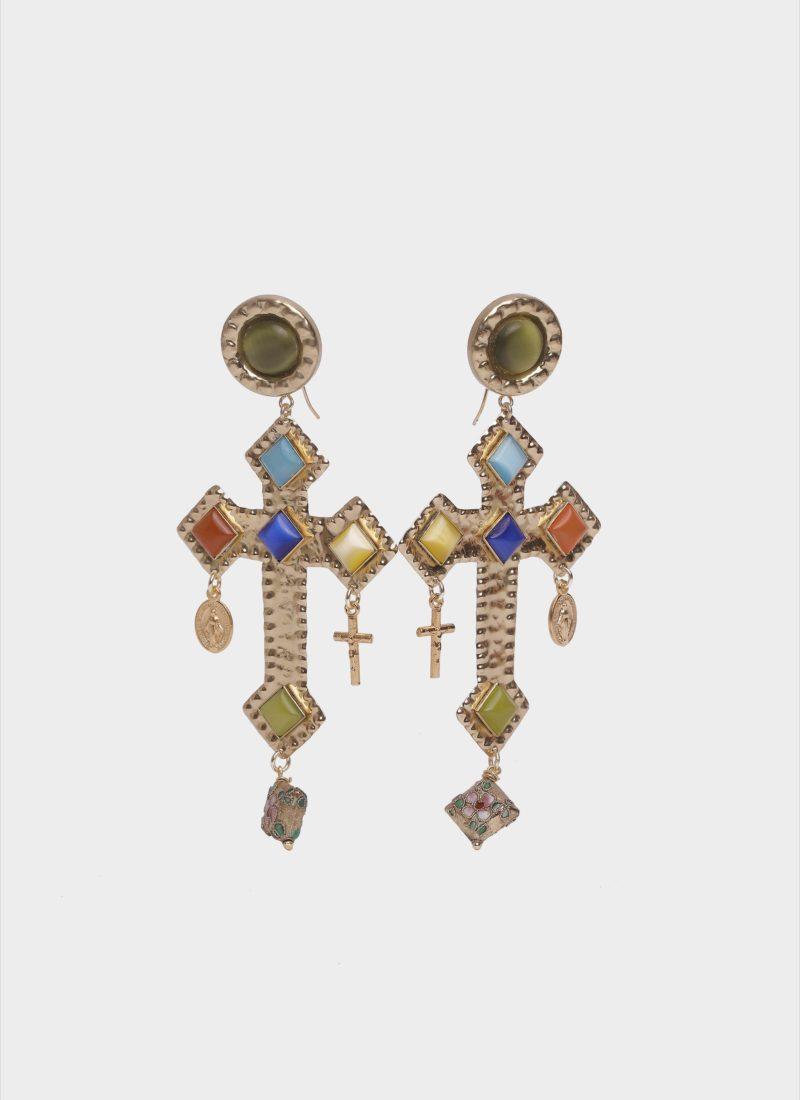 Orecchini croce barocco con pietre colorate Mariella Gennarino