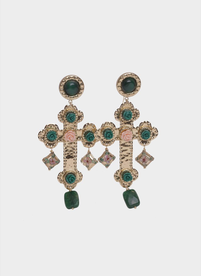 Orecchini croce barocco con roselline di Mariella Gennarino
