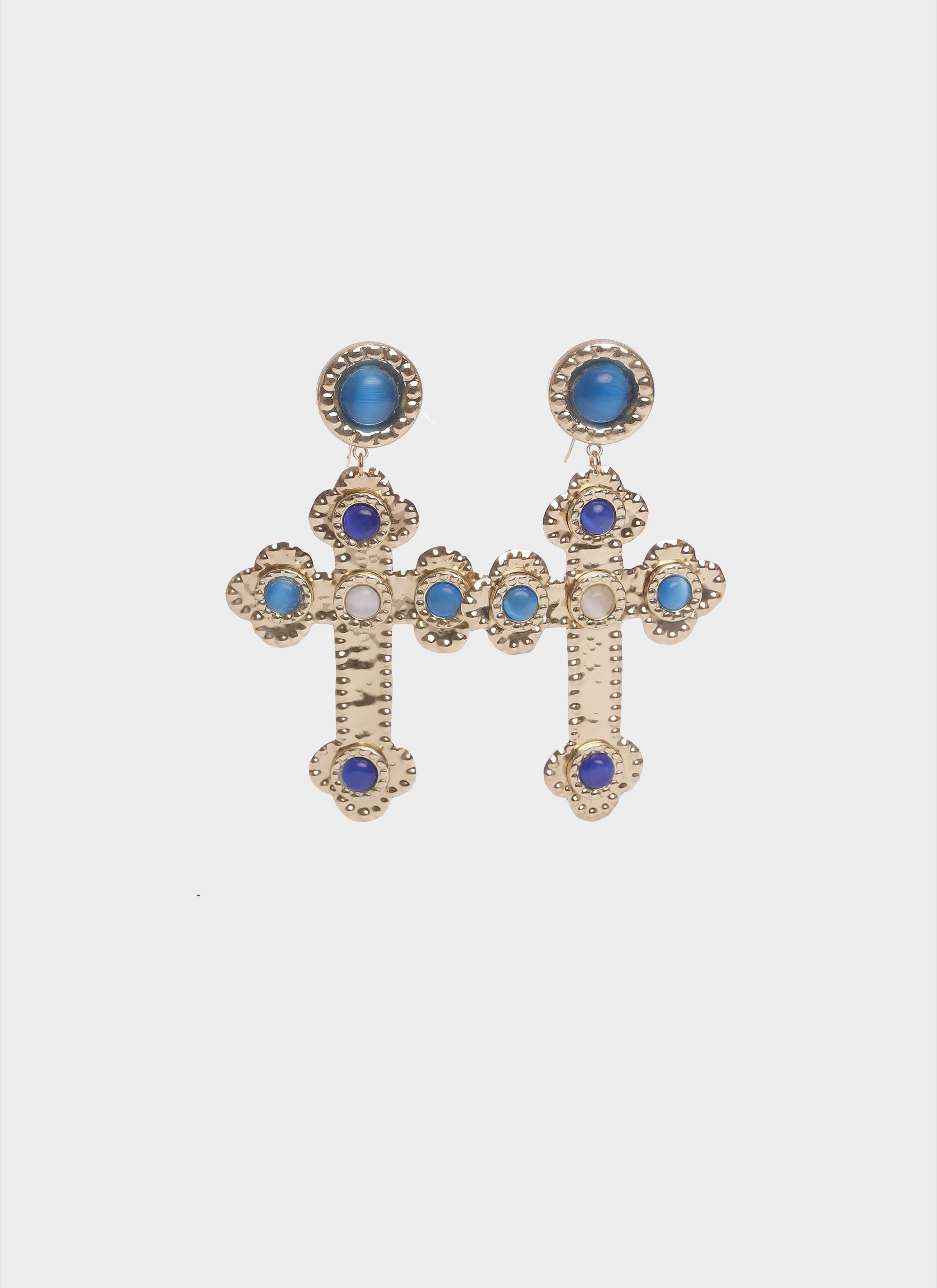 Orecchini a forma di croce in ottone con pietre di Mariella Gennarino
