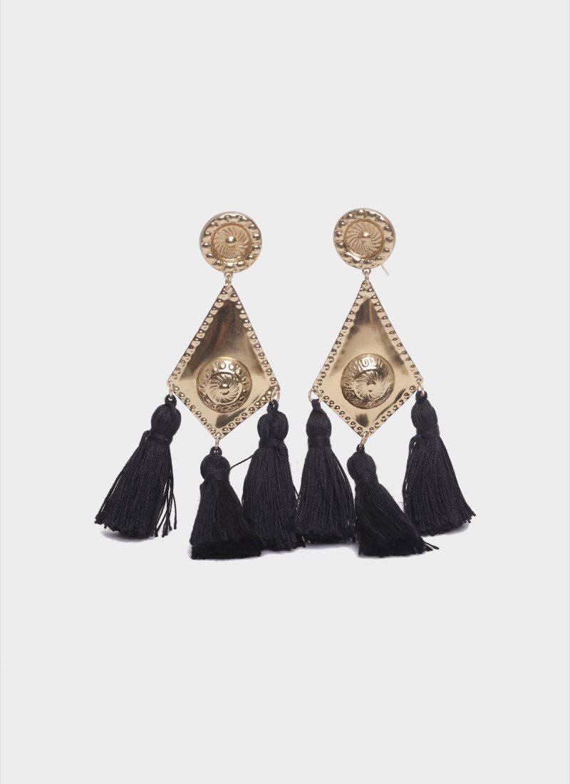 Orecchini a scudo in ottone con nappe nere Mariella Gennarino