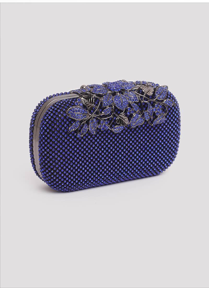 Clutch blu con cristalli e fiori Mariella Gennarino