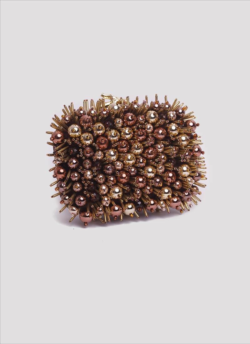 Clutch bronzo con perle Mariella Gennarino