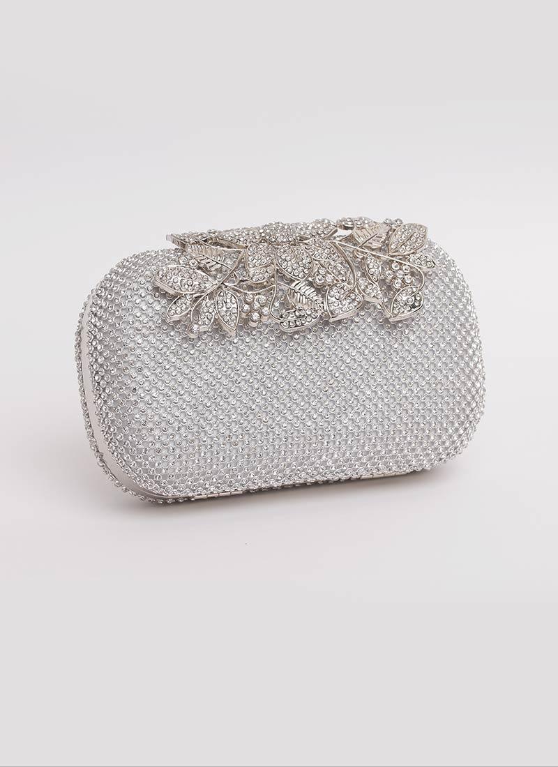 Clutch gioiello argento con fiori Mariella Gennarino