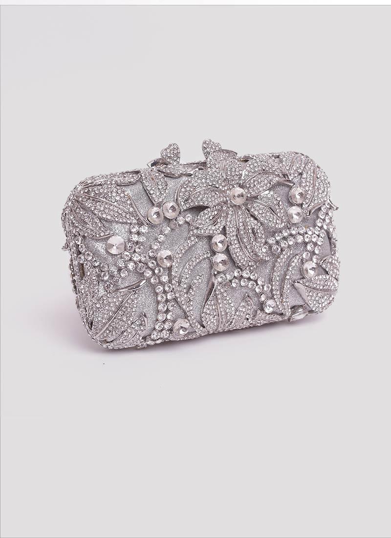 Clutch gioiello con swarovski e fiori Mariella Gennarino