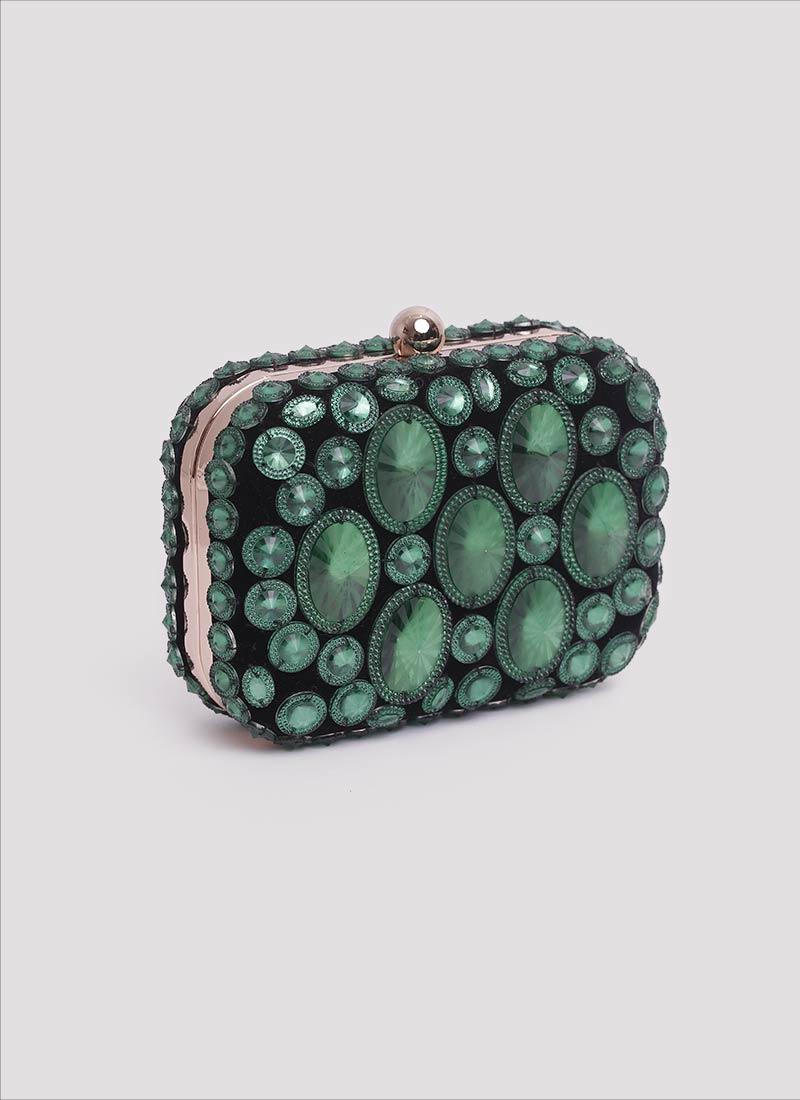 Clutch in velluto con pietre verdi Mariella Gennarino