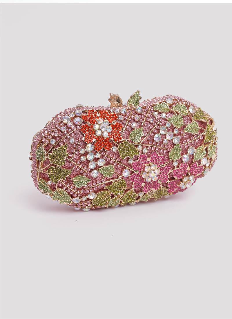 Clutch rosa con fiori swarovski e pietre Mariella Gennarino
