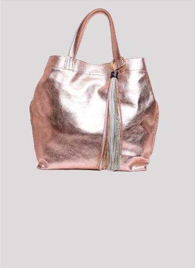 Borsa Almala in pelle rosa effetto metallizzato di Mariella Gennarino